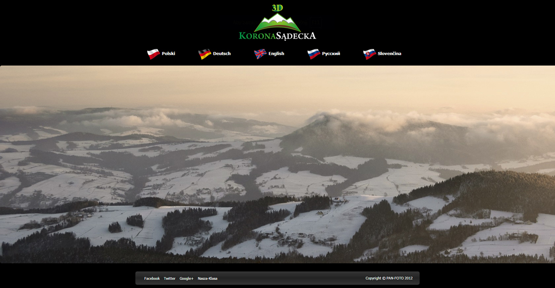 Main website screen