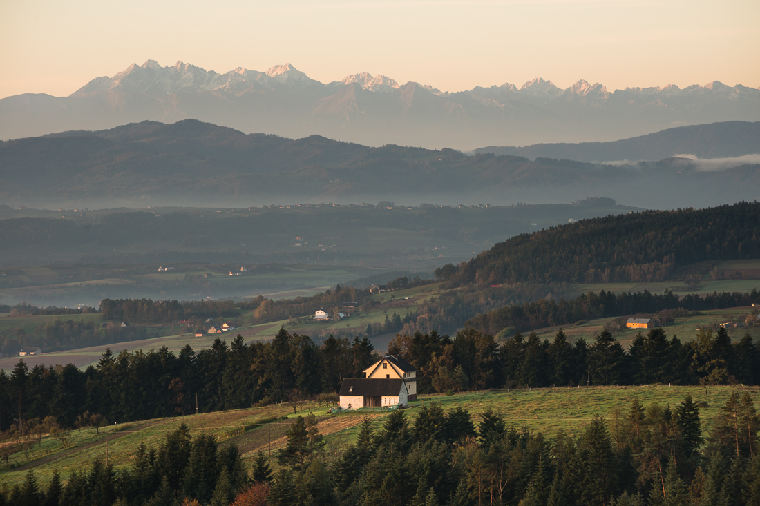 Tatra mountain view from Chełmiec municipality
