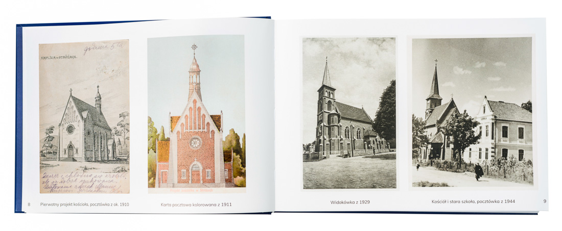Archival images of the church first plan and the old school